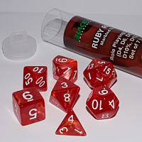 Blackfire Dice - 16mm Role Playing Dice Set - Ruby Red (7 Dice)