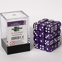 Blackfire Dice Cube – 12mm D6 36 Dice Set – Marbled Purple/White