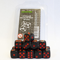 Blackfire Dice - 16mm D6 Dice Set - Black with Red Dots (15 Dice)