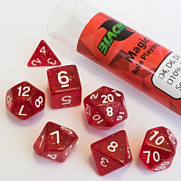 Blackfire Dice - 16mm Role Playing Dice Set - Magic Red (7 Dice)