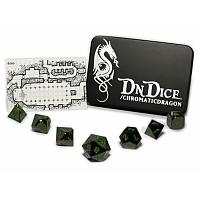DnDice Solid Zink: Green Chromatic Dragon