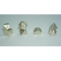 A Role Playing Dice Set: Metallic - Silver with Golden Numbers