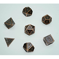 A Role Playing Dice Set: Metallic - Matt Copper with Copper Borders