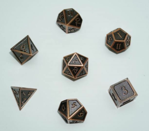 A Role Playing Dice Set: Metallic - Matt Copper with Copper Borders_boxshot