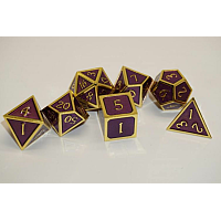 A Role Playing Dice Set: Metallic - Purple with Gold Borders