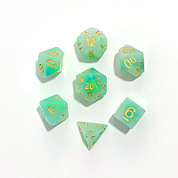 A Role Playing Dice Set: Blue Green Jade