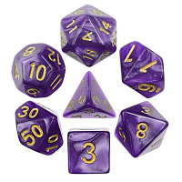 A Role Playing Dice Set: Purple Pearl Golden Numbers