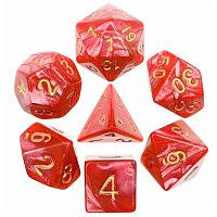 A Role Playing Dice Set: Red Pearl Golden Numbers