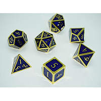 A Role Playing Dice Set: Metallic - Blue with Gold Borders