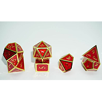 A Role Playing Dice Set: Metallic - Red with Gold Borders