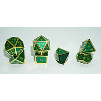 A Role Playing Dice Set: Metallic - Green with Gold Borders