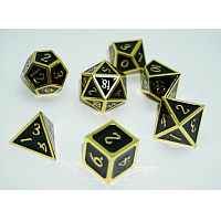 A Role Playing Dice Set: Metallic - Black with Gold Borders