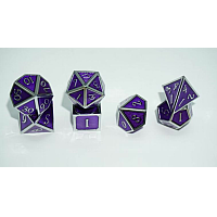 A Role Playing Dice Set: Metallic - Purple with Silver Borders