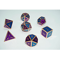 A Role Playing Dice Set: Metallic - Purple or blue sides with Copper Borders