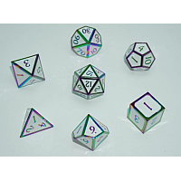 A Role Playing Dice Set: Metallic - White Rainbow