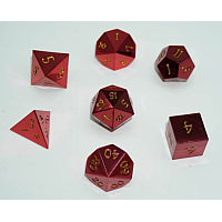 A Role Playing Dice Set: Metallic - Plain Red with Golden numbers