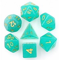 A Role Playing Dice Set: Greem Transulent Glitter