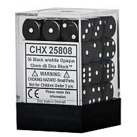 Chessex Opaque 12mm d6 (36 Dice): Black with white