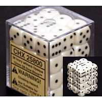 Chessex Opaque 12mm d6 (36 Dice): Ivory with black