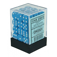 Chessex Opaque 12mm d6 (36 Dice): Light blue with white